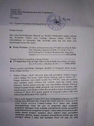 Dipecat Secara Sepihak Oleh PT. IKPP, Donny Warianto Lapor Ke Disnaker Riau