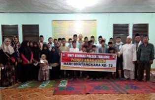 Meriahkan Hut Bhayangkara ke 72, Polsek Tualang Santuni Anak Yatim