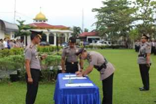 Tiga Perwira di Wilkum Polres Pelalawan Sertijab